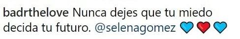 comentario en Instagram sobre Selena y Justin