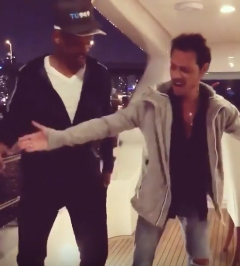 Will Smith aprendiendo a bailar salsa con Marc Anthony