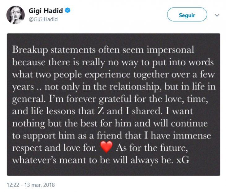 Comentarios en twitter sobre la separación de Gigi y Zayn Malik