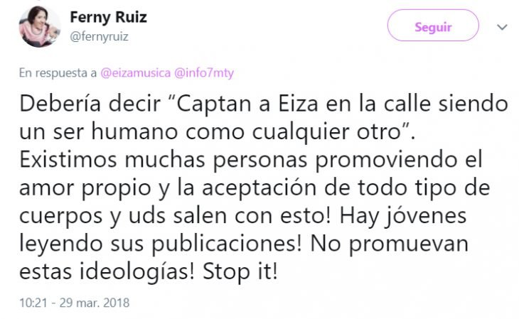 Comentarios en Twitter sobre las criticas que Eiza recibió