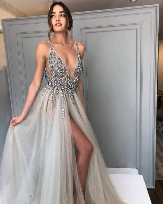 vestido con brillitos
