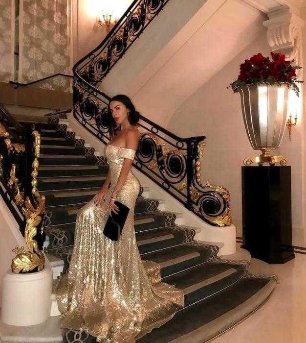 vestido dorado super glam