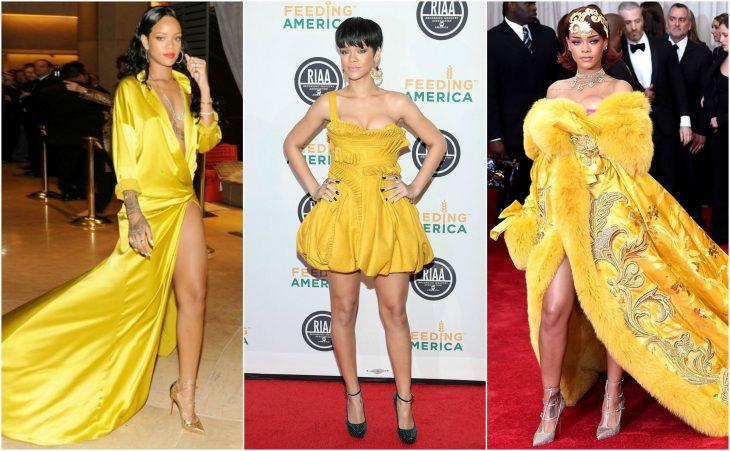 amarillo brillante al oro rihanna vestidos rihanna