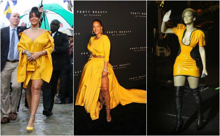 amarillo oro a naranja amarillento rihanna vestidos