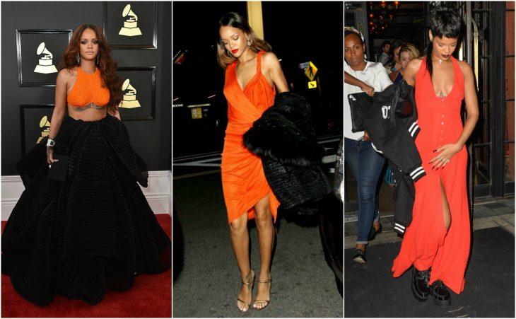 rihanna vestidos naranjas
