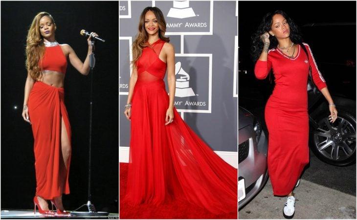 rihanna vestidos rojo brillante