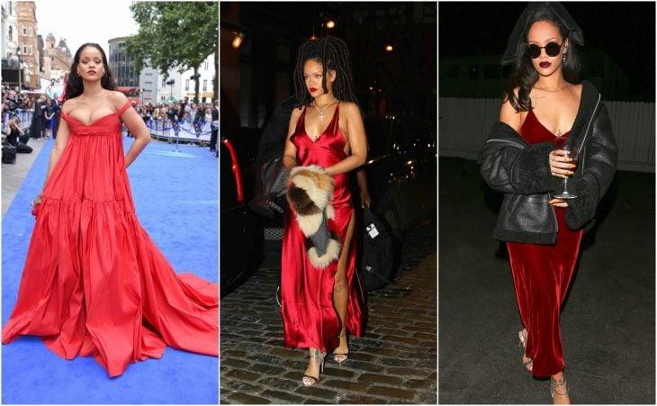 rihanna vestidos rojo sensual