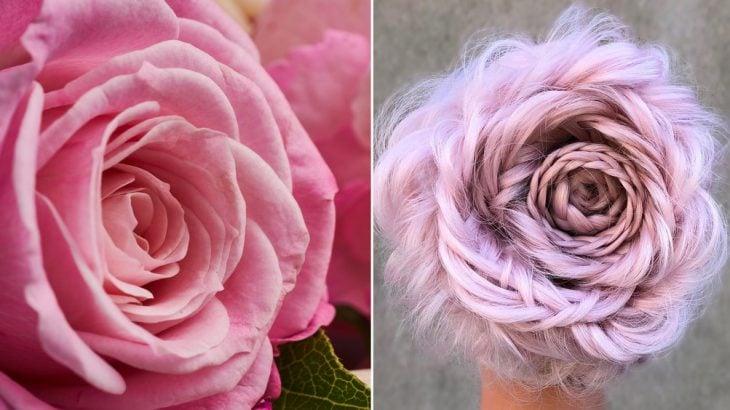 Rosas trenzadas y rosa