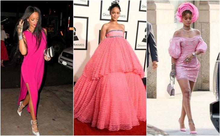 vestidos de rihanna de magenta a rosa