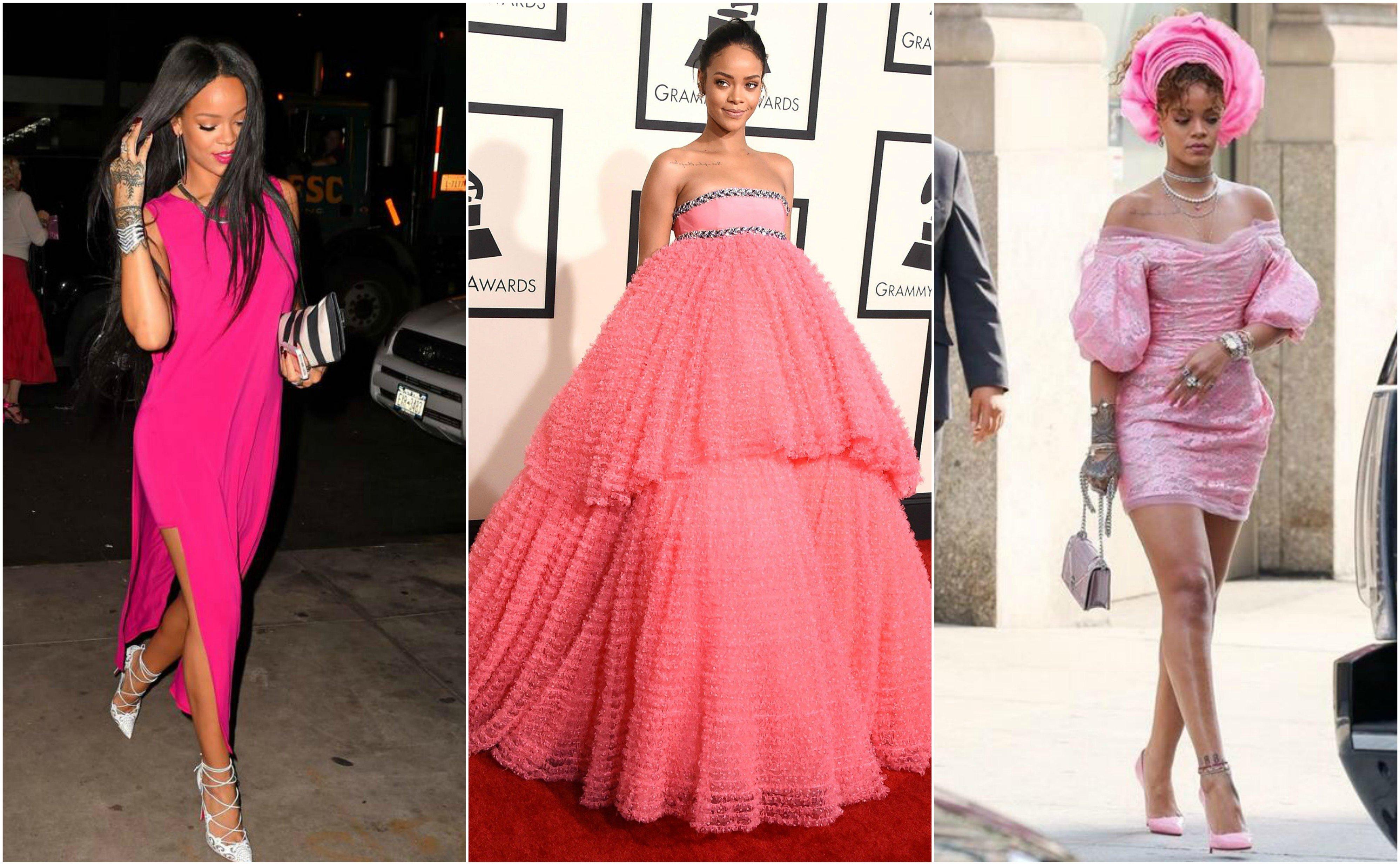La escala de colores según los vestidos de Rihanna