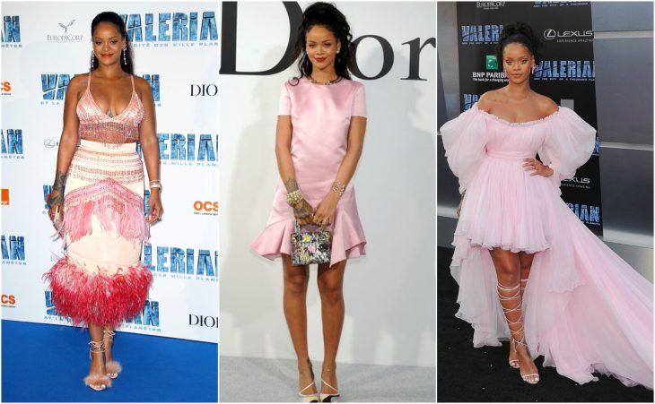 vestidos de rihanna de rosa a rosa