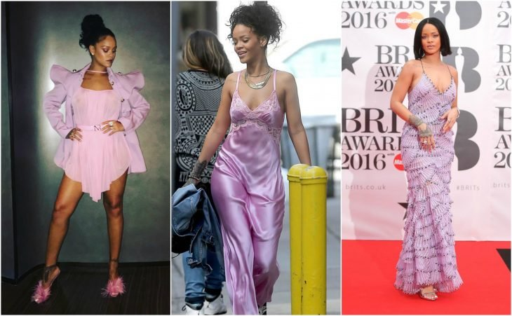 vestidos de rihanna de rosa a lavanda