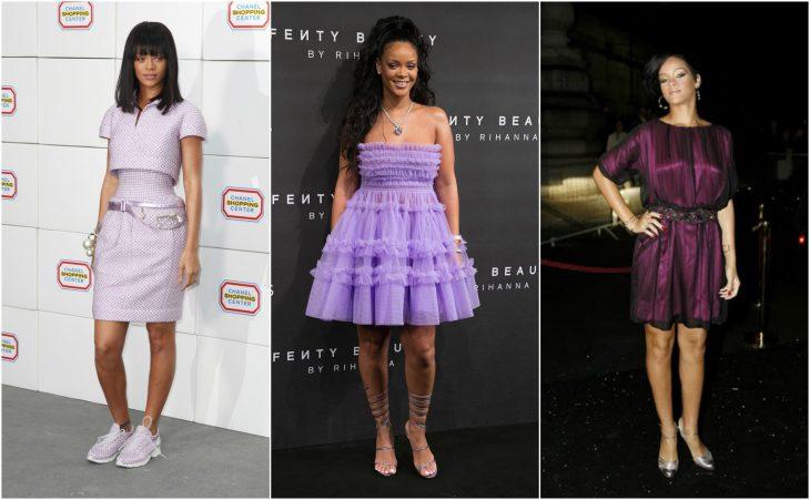 vestidos de rihanna del lavanda al violeta