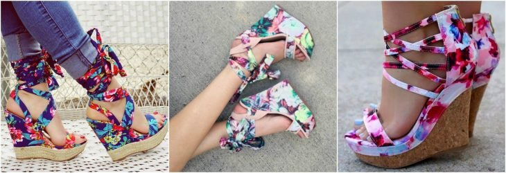wedges de estampados tropicales