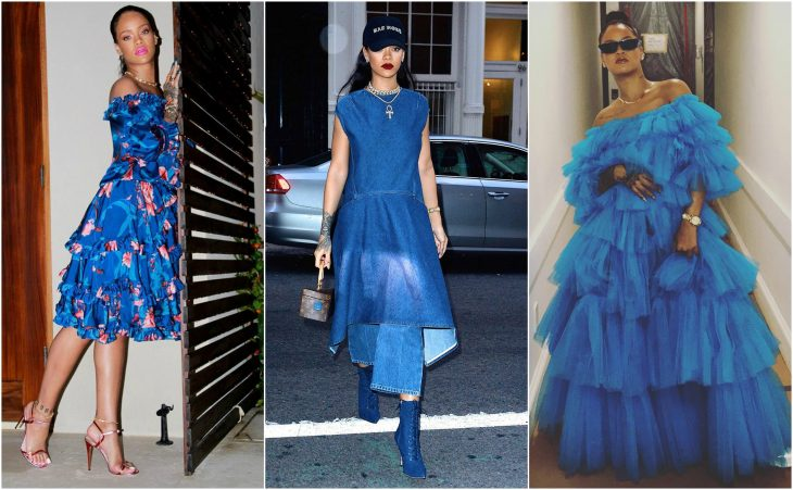 vestidos de rihanna vestidos azules