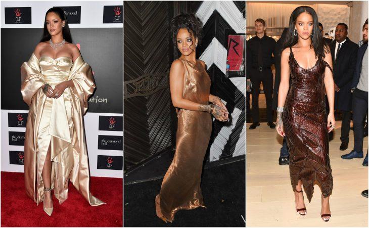 vestidos de rihanna vestidos oro