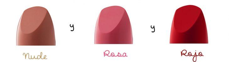 labiales de tres colores basicos nude rosa y rojo