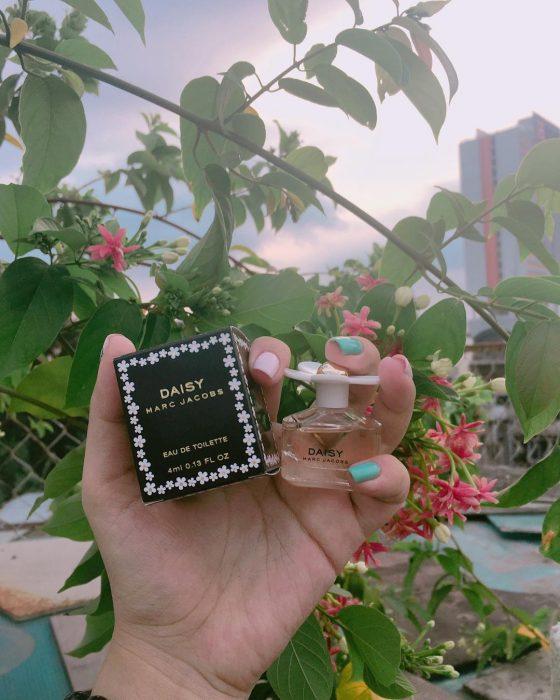 perfume mini para viaje árbol y flores