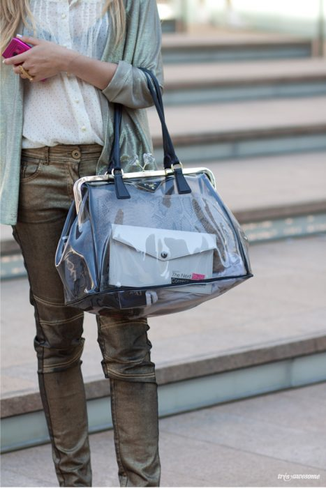 Bolso transparente con color gris