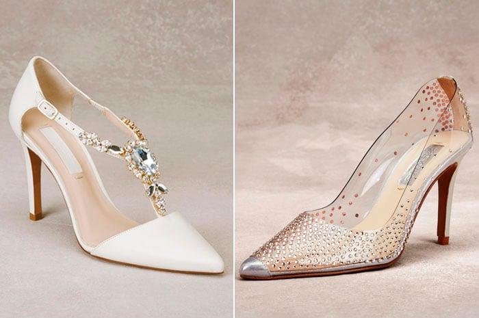 Zapatos con piedras y diamantes en colo blanco