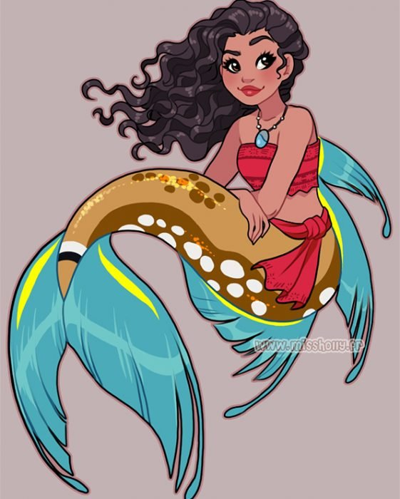 diseño de Moana como sirena