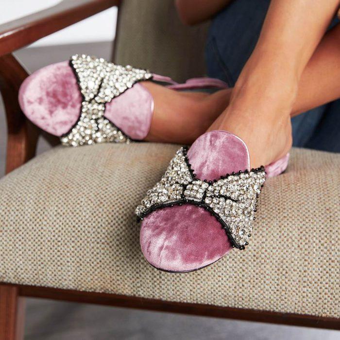 Chiara Ferragni for Disney mules rosados con lazos