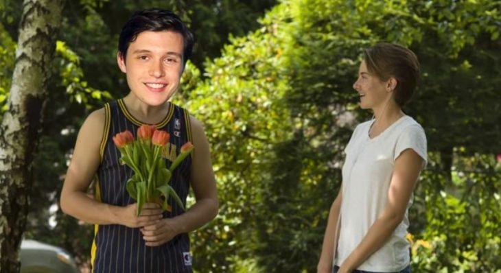chico regalando rosas a una chica