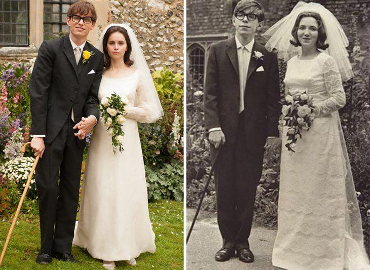 Eddie Redmayne y Felicity Jones como Stephen Hawking y Jane Wilde enThe Theory Of Everything