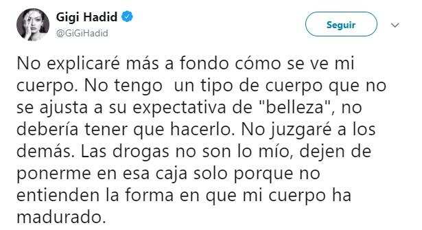Comentarios en twiiter de Gigi Hadid por su cuerpo delgado