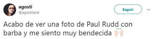 comentario en Twitter sobre Paul Rudd