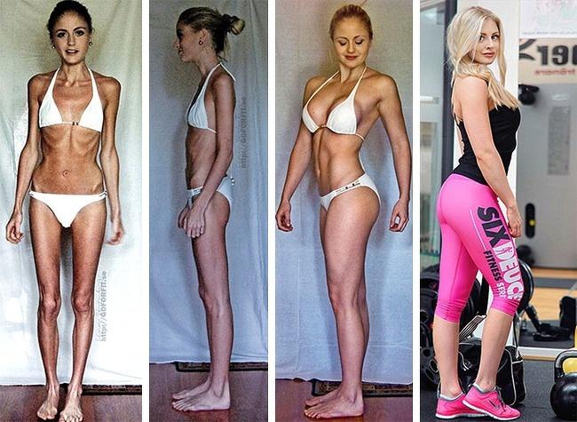 chica antes y después de subir de peso
