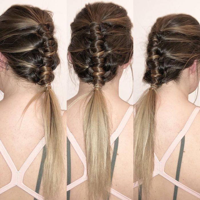 Pipe Braids o trenzas de tubo con el cabello planchado al final