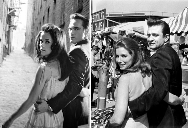 Reese Witherspoon y Joaquin Phoenix como June Carter y Johnny Cash en Walk the line