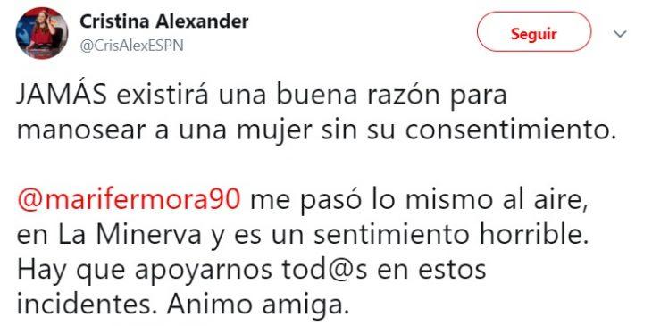 Comentario en Twitter de una reportera que fue acosada en Guadalajara