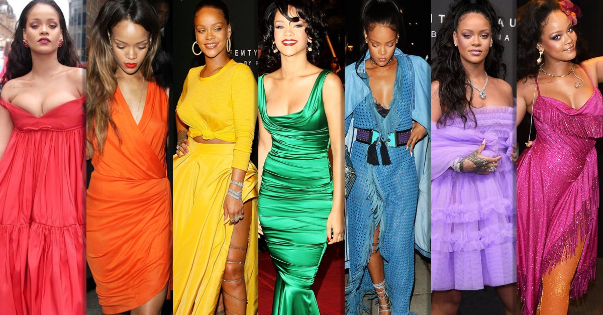 La escala cromática de los vestidos de Rihanna; parece que invento el arcoiris