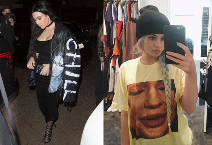Comparación de Kim Kardashian y Kylie Jenner usando atuendos similares