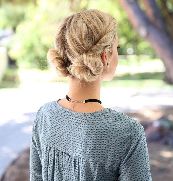 peinados para agarrarte el cabello, dos buns abajo