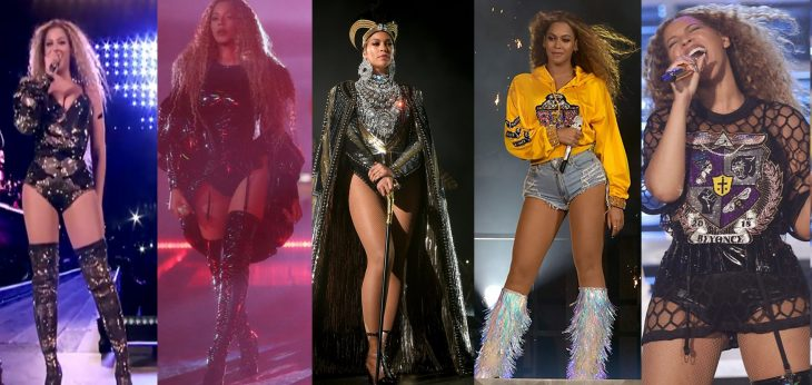 Beyoncé mujer morena cinco cambios de ropa botas shorts