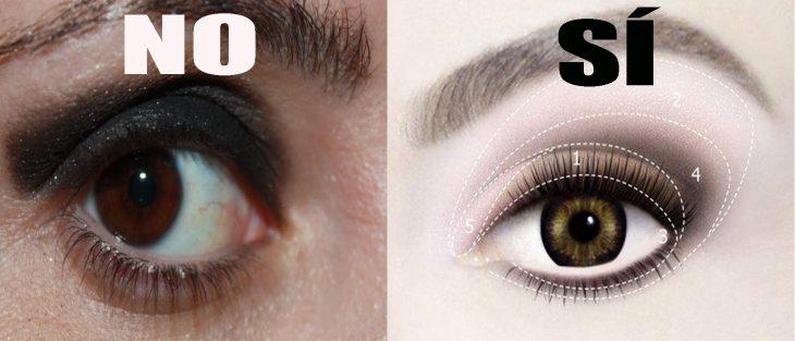 ojos de mujer con sombra sin difuminar