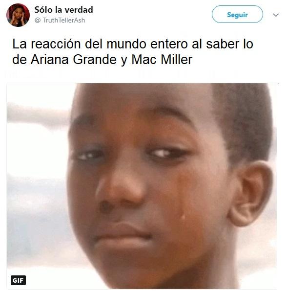 comentario en twitter sobre Ariana y Miller
