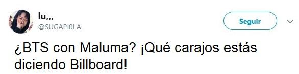 comentario en Twitter de BTS con Maluma