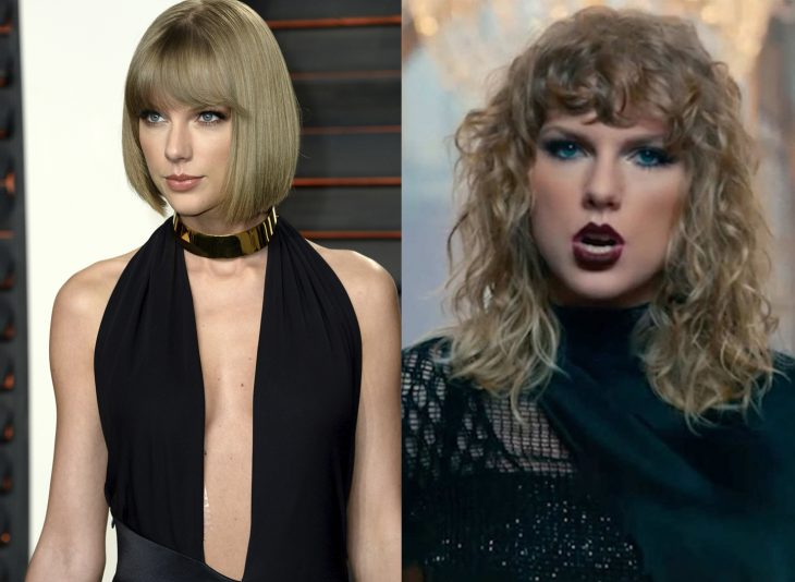 Taylor Swift mostrando sus dos cambios de cabello