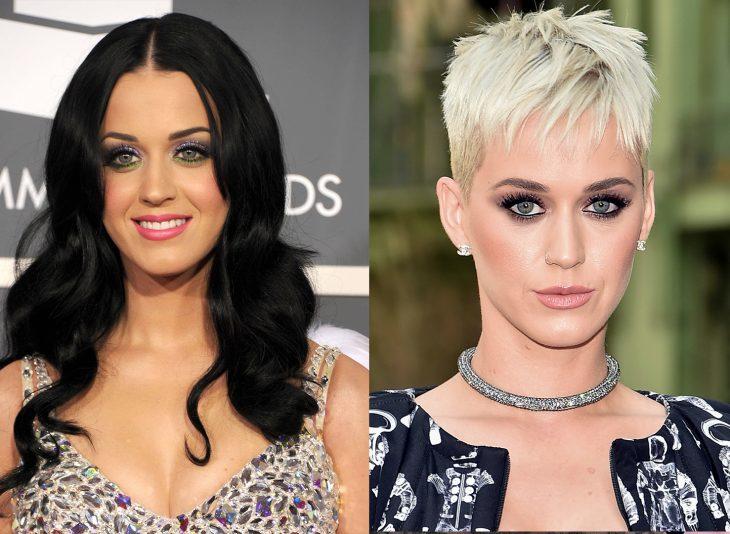Katy Perry mostrando sus dos cambios de cabello