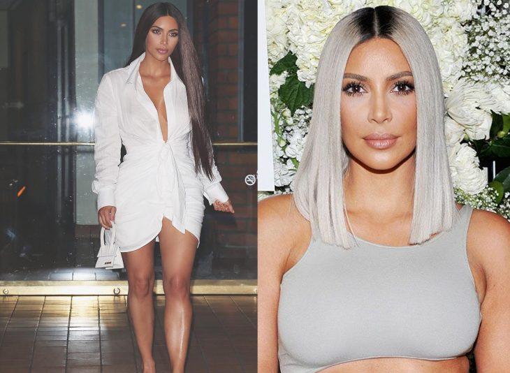 Kim Kardashian mostrando sus dos cambios de cabello