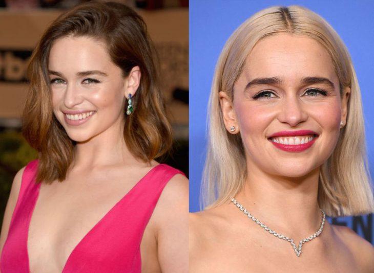 Emilia Clarke mostrando sus dos cambios de cabello