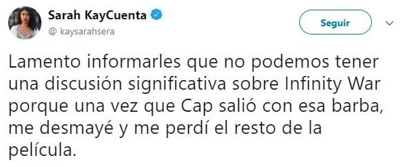 comentario en twitter sobre el capitan america
