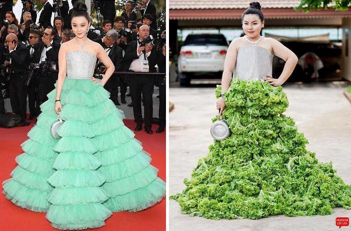 chicas con vestidos de brocoli
