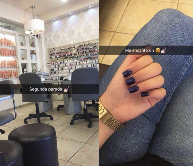 Chica relatando una historia en snapchat