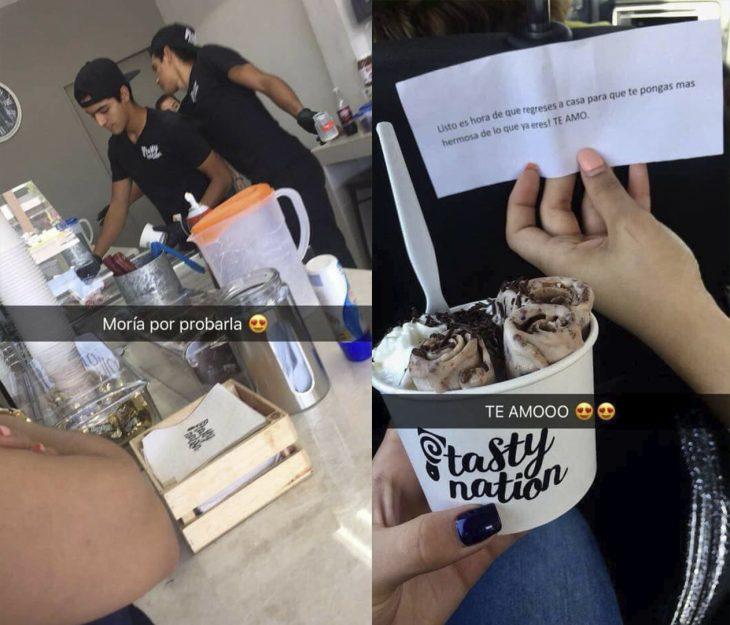Chica comiendo helado el día de su cumpleaños