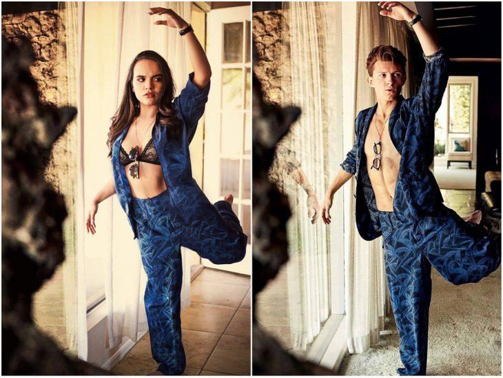chica usando traje en color azul